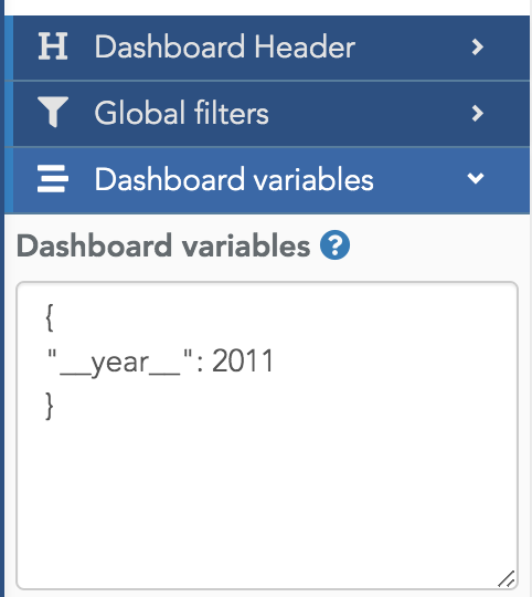 Dashboard variables