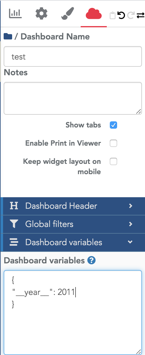 Global filter example with template
